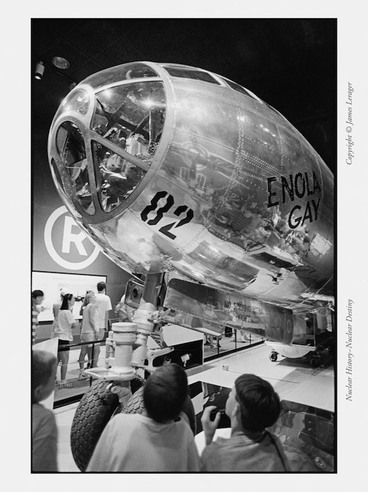 The Enola Gay, the B-29 that dropped the atomic bomb on Hiroshima on August 6, 1945, was installed in the Smithsonian Institute's National Air & Space Museum in Washington D.C. in the summer of 1995, commemorating the 50th anniversary of the nuclear bombing of Japan. Some of the exhibition materials, prepared by historians, questioned whether, with the benefit of hindsight, dropping nuclear weapons on Japanese cities had been necessary or wise.