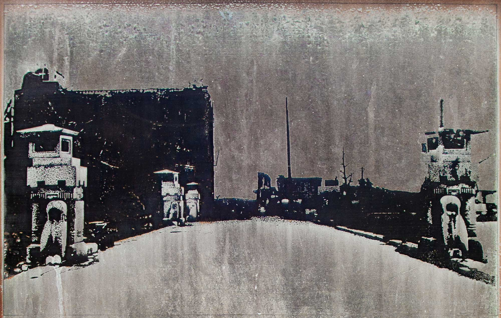 The Motoyasu Bridge, Hiroshima, about 130 meters from the hypocenter, fall 1945, March 2013, Chromogenic print, 9 x 12 inch.
