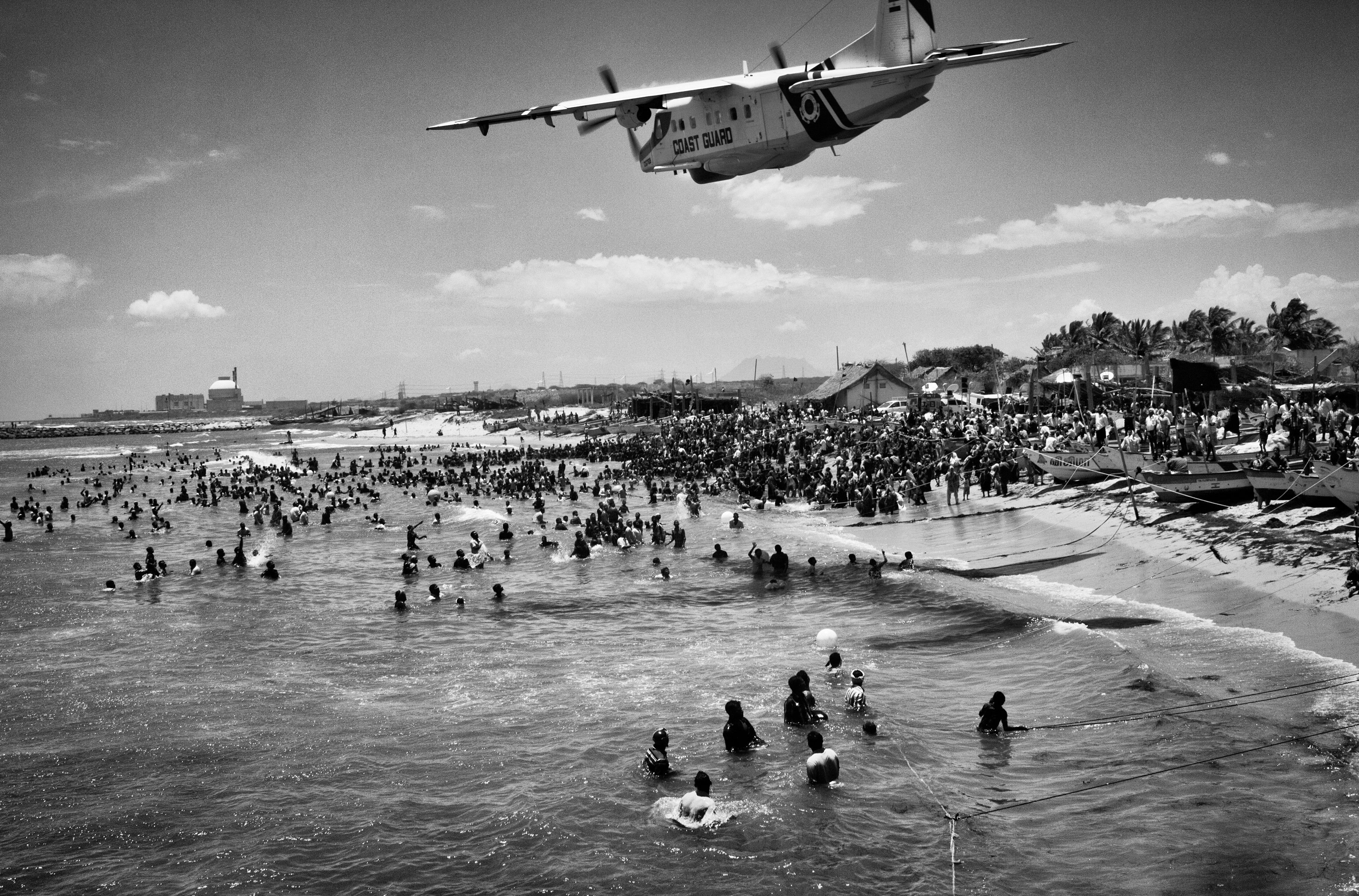 Coast guard aero plane was flown too low over the protesting villagers who ventured into the sea as a part of their Jal Sathyagraha