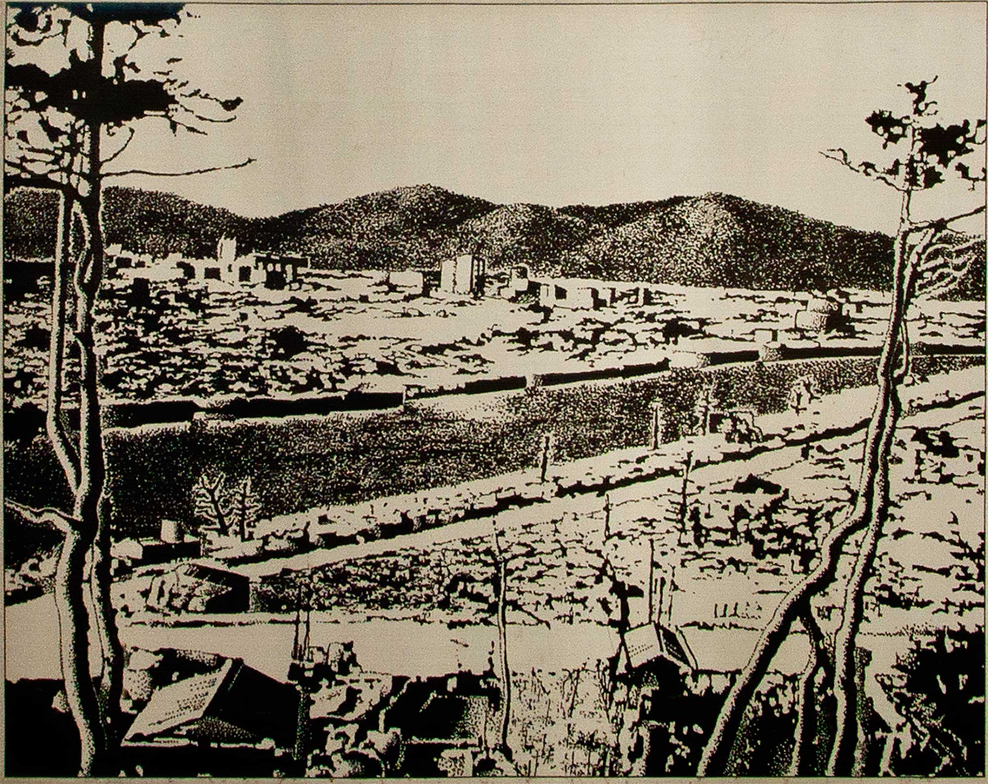 Devastated City Center, From Hijiyama Hill, Hiroshima, 2000 meters from the hypocenter, photograph by the U.S. Army, October 1945, March 2013, Chromogenic print, 9 x 12 inch.