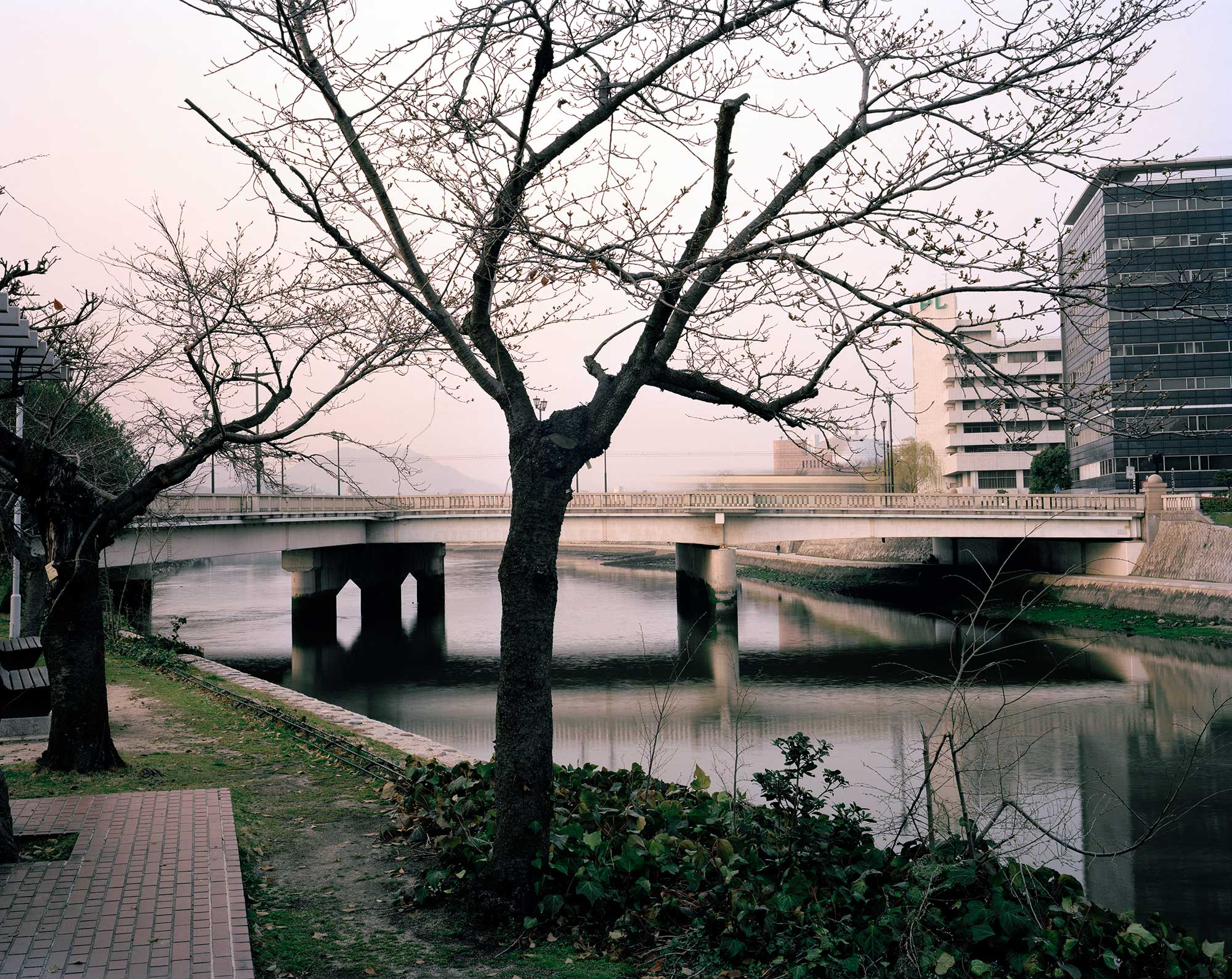 Aioi Bridge at Dusk (T-Bridge, Aiming Point for the Bomb), Hiroshima, about 200 meters from the hypocenter, March 2013, Chromogenic print, 30 x 40 inch.