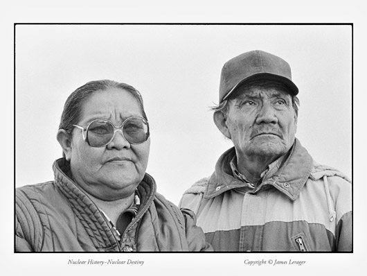 """Albert Johnson, a Navajo Indian and former uranium miner, and his wife, Rosemary. The Johnsons lived in Shiprock, New Mexico. Many of the men who worked the uranium mines of the Southwest, which provided raw materials for America's nuclear arsenal, were Native Americans—most of them Navajo. Johnson worked in uranium mines in Arizona and Colorado, primarily for Kerr-McGee, from 1950 to 1973. At age 38, Johnson's lungs were extensively scarred and he was ruled disabled due to silicosis. """"I traveled with my husband to the different mines,"""" says Rosemary. """"There was no fresh water—we drank out of the mine and bathed in that water. We lost a little boy at age four to leukemia. He played in the mine tailings."""" They had two other children, also born at the mines, who are severely mentally retarded. Their other eight children were healthy. Rosemary had six close friends from the mining days whose husbands died from lung and stomach cancers."""